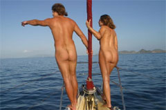 Nude sailing in the Caribbean